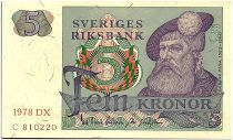Suède 5 Kronor - Gustav Vasa - 1978 - DX - SUP + - P.51