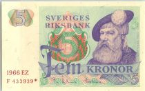 Suède 5 Kronor Roi Gustaf Vasa - 1966 *