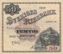 Suède 50 Kronor Svea - 1940 Série U.46217N - TTB - P.35w