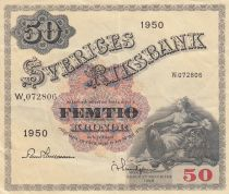 Suède 50 Kronor Svea - 1950 Série W.072806 -  TTB+ - P.3ae