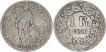 Suisse 1 Franc Helvetia - 1908 B Berne