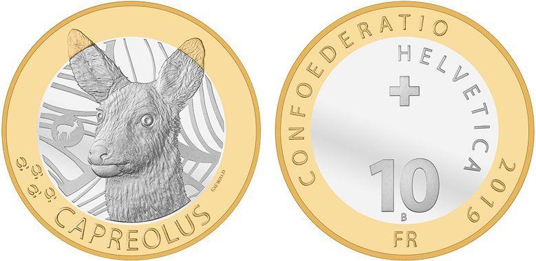 Suisse 10 Francs, Chevreuil  - 2019
