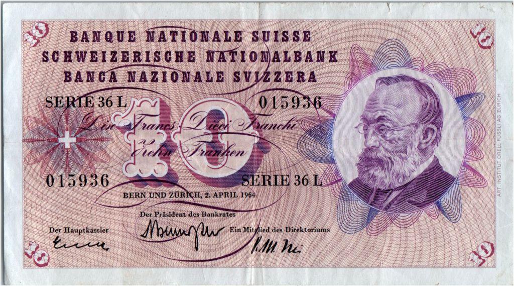 Suisse 10 Francs  Gottfried Keller - Edelweiss - 02/04/1964