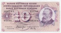 Suisse 10 Francs 1967 - Gottfried Keller, Oeillets
