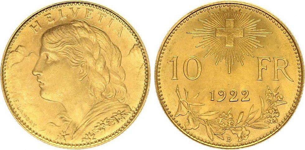 Suisse 10 Francs Vreneli 1922 - B
