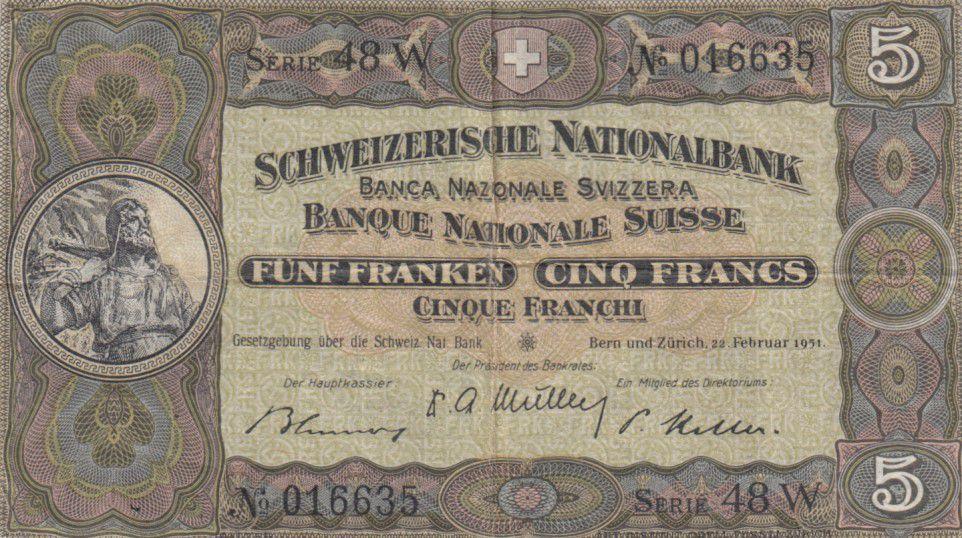 Suisse 5 Francs William Tell - 22-02-1951 Série 48 W - TTB - P.11o