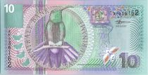 Suriname 10 Gulden Bird Black Mango - Flower - 2000