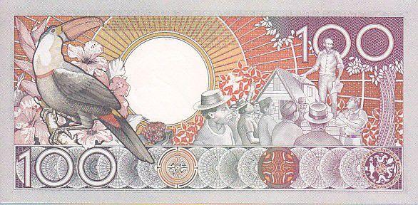 Suriname 100 Gulden Anton Dekom - Toucan