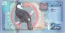 Suriname 25 Gulden Toucan - Fleur - 2000