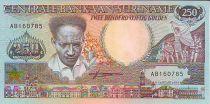 Suriname 250 Gulden Anton De Kom - Toucan et fleurs - 1988