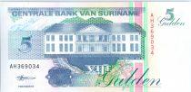 Suriname 5 Gulden, Log truck - 1998 - UNC - P.136 b
