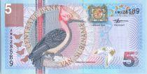 Suriname 5 Gulden Oiseaux: Red-Necked Woodpecker - 2000