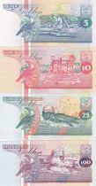 Suriname Série de 4 billets du Suriname - 5 à 100 Gulden 1996-1998