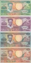 Suriname Set of 4 banknotes from Surinam - 25 to 500 Gulden 1986-1988
