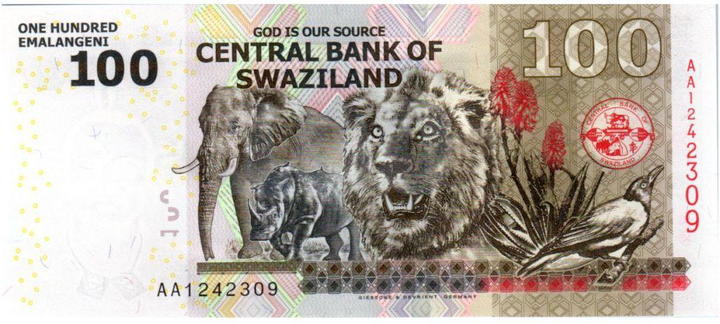 Swaziland 100 Emalangeni Roi Mswati III - Lion, rhino, éléphant, oiseau - 2010