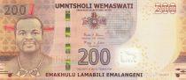 Swaziland 200 Emalangeni Roi Mswati III - Huts - 2017 Hybrid