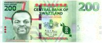 Swaziland 200 Emalangeni Roi Mswati III - Huttes, chèvres, guerrier - 2014