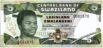 Swaziland 5 Emalangeni Roi Mswati III - Guerriers - 1990