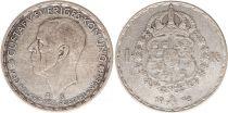 Sweden 1 Krona 1948TS - Coat of arms, Gustaf V - Silver