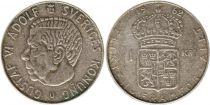 Sweden 1 Krona 1962U - Coat of arms, Gustaf VI - Silver
