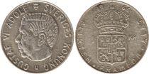 Sweden 1 Krona 1966U - Coat of arms, Gustaf VI - Silver