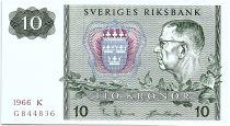 Sweden 10 Kronor  Carl XVI Gustaf - 1966 - K - aUNC - P.52b