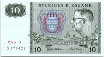Sweden 10 Kronor  Carl XVI Gustaf - 1975 - S - UNC- P.52c