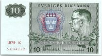 Sweden 10 Kronor  Carl XVI Gustaf - 1979 - K - aUNC - P.52d