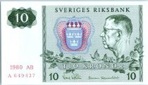 Sweden 10 Kronor Roi Gustaf VI - 1980