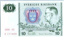 Sweden 10 Kronor Roi Gustaf VI - 1981