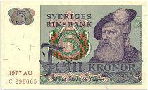 Sweden 5 Kronor - Gustav Vasa - 1977 - AU - P.51