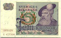 Sweden 5 Kronor - Gustav Vasa - 1978 - DV - aUNC - P.51