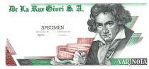 Switzerland 1 Varinota, Test Note - De la Rue Giori - Beethoven - Uniface Green and Off-White