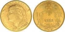 Switzerland 10 Francs Vreneli 1922 - B