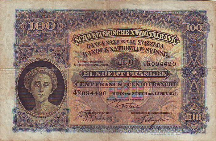 Switzerland 100 F Head of woman - Farmer