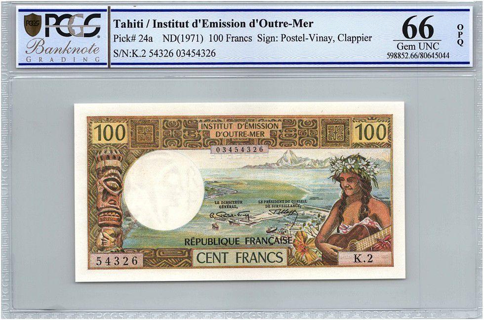 Tahiti 100 Francs Tahitian\'s woman - Série K.2 - PCGS UNC 66 OPQ