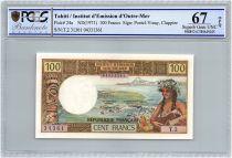 Tahiti 100 Francs Tahitienne - Série T.2 - PCGS UNC 67 OPQ