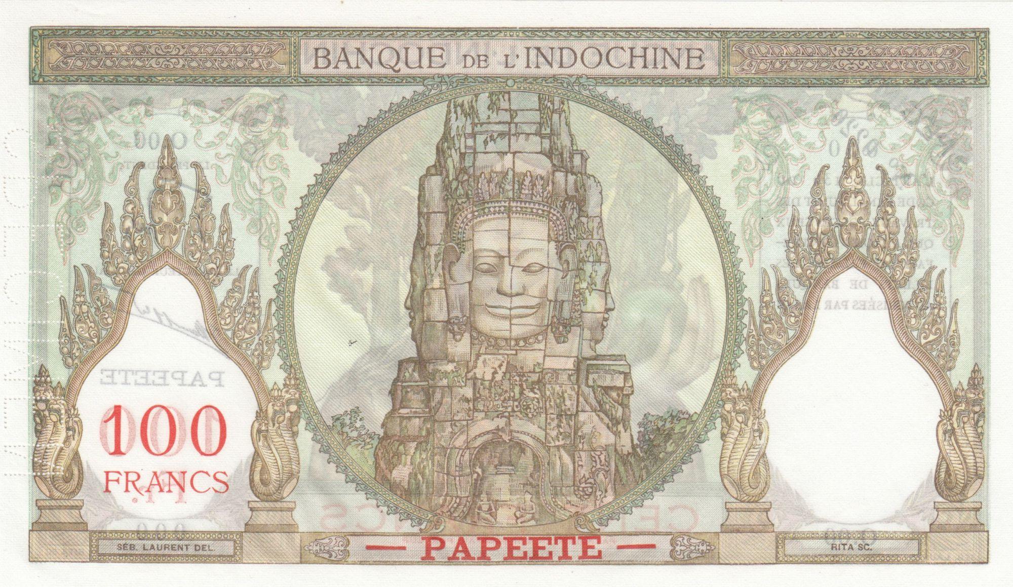 Tahiti 100 Francs Woman - Statue of Angkor - 1961 to 1965 - Specimen - XF