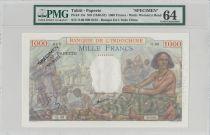 Tahiti 1000 Francs Market Scene- 1938 Specimen PMG 64 EPQ  O.00 000