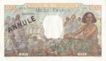 Tahiti 1000 Francs Market Scene- 1954 - Serial P.11 - Cancelled Testnote - XF