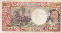 Tahiti 1000 Francs ND1977 - Tahitienne, Hibiscus, paysage, cerf - Sign 3A