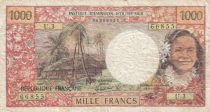 Tahiti 1000 Francs ND1977 - Tahitienne, Hibiscus, paysage, cerf - Sign3A