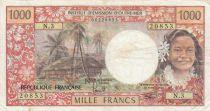 Tahiti 1000 Francs ND1977 - Tahitienne, Hibiscus, paysage, cerf