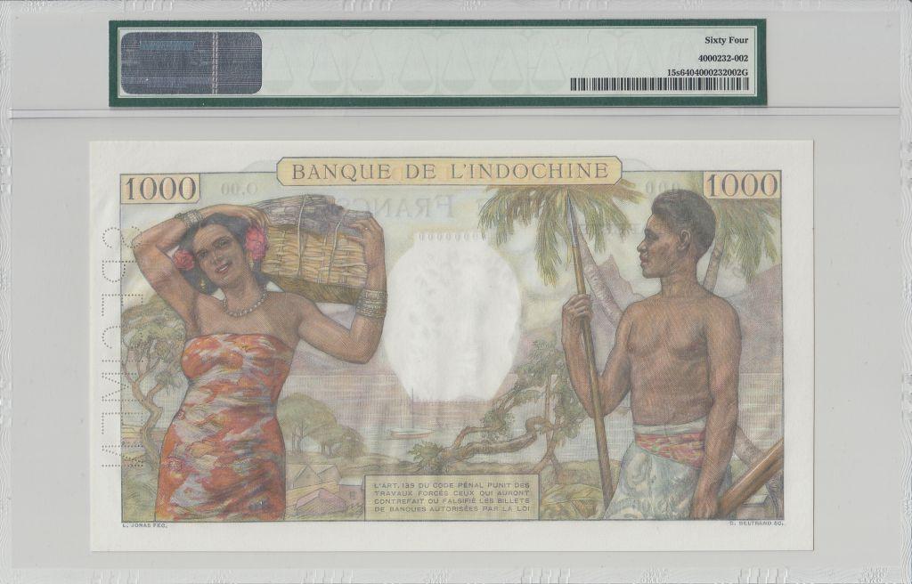 Tahiti 1000 Francs Scène de marché - 1938 - Spécimen PMG 64 EPQ  O.00 000