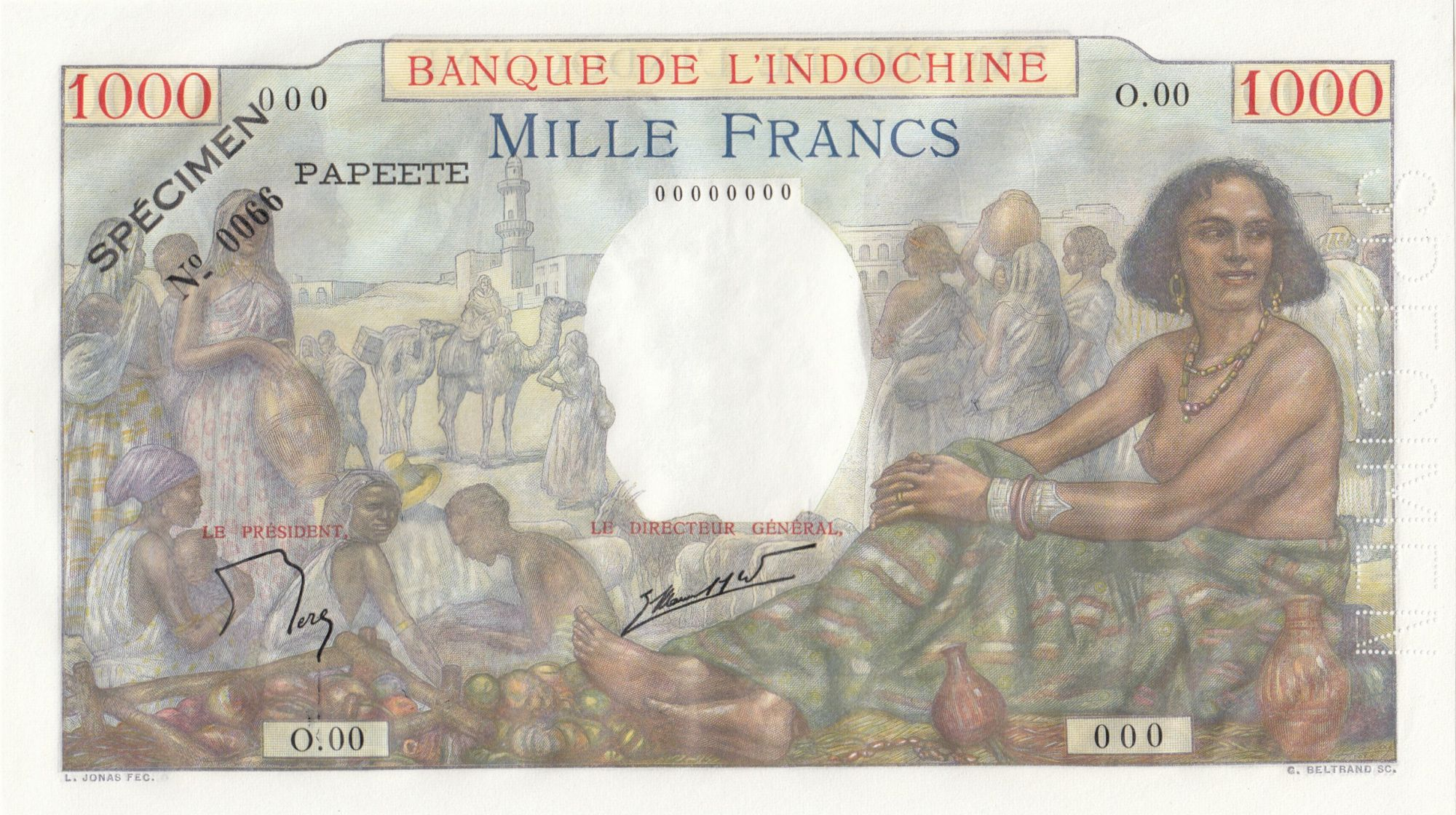 Tahiti 1000 Francs Scène de marché - 1957 - Série O.00 - Spécimen n°0066 - NEUF