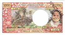 Tahiti 1000 Francs Tahitian woman - Hut in palm trees - 1985