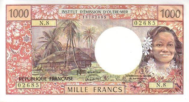 Tahiti 1000 Francs Tahitian woman - Hut in palm trees