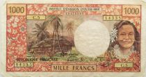 Tahiti 1000 Francs Tahitian woman ND (1983) - Hut in palm trees - Serial C.5 - F to VF
