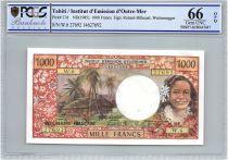Tahiti 1000 Francs Tahitienne - Hibiscus - 1985 - PCGS UNC 66 OPQ