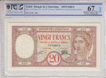 Tahiti 20 Francs Au paon - Spécimen - Papeete - Banque de l\'Indo-Chine - 1928